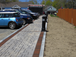 "This walkway between Cove Road and Main Street, also known as ""Theresa's Way"" is made of permeable concrete. Photo by John Fallender"